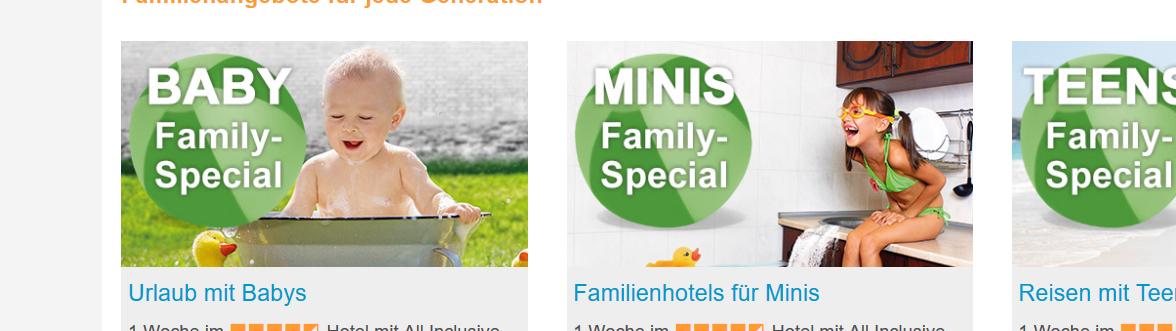 Urlaubsdeals für die Familie günstig bei FTI buchen - Screenshot