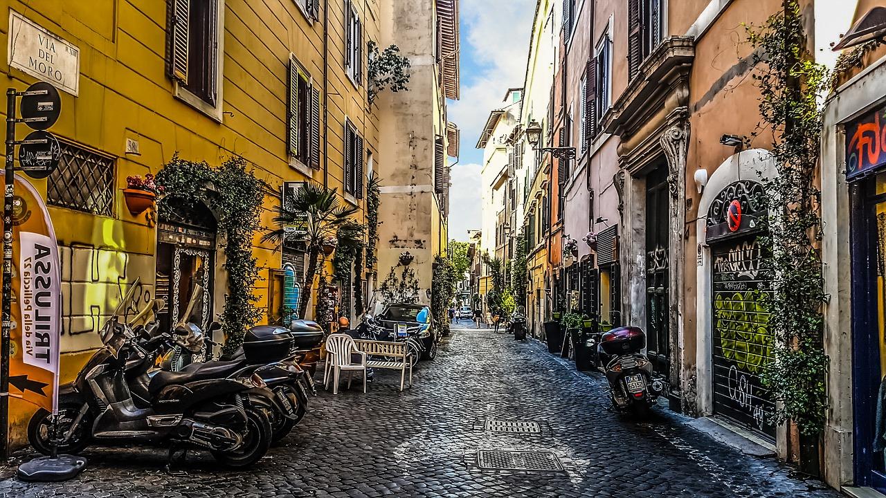 Willkommen im Viertel von Trastevere, typisch Italien