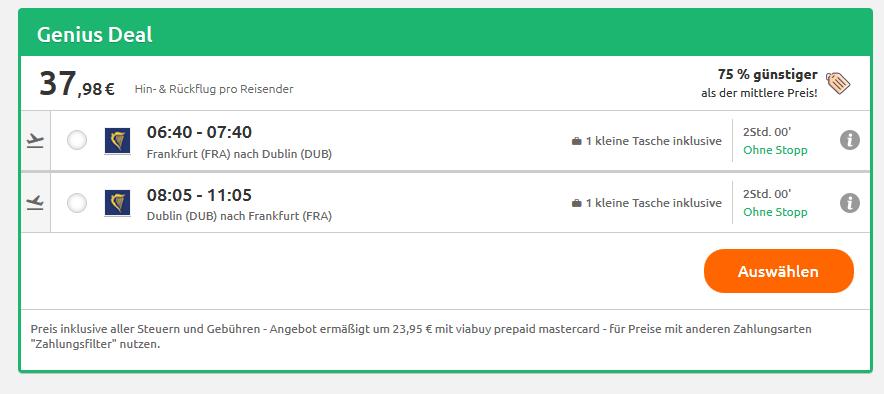 Direktflug Dublin Deutschland hin & zurück schon ab 37,00€