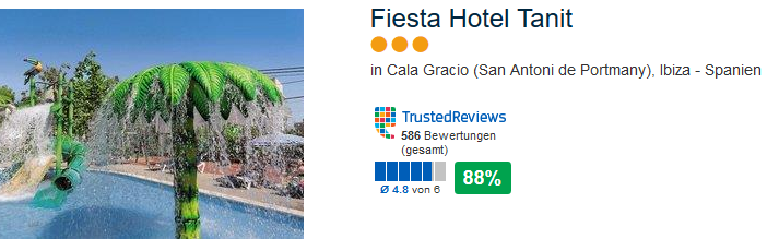 Fiesta Hotel Tanit in Cala Gracio mit 88% positiver Bewertungen bei 586 Trusted Reviews