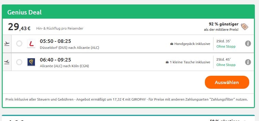 Flugdeal Screenshot Beispiel 11.02-18.02
