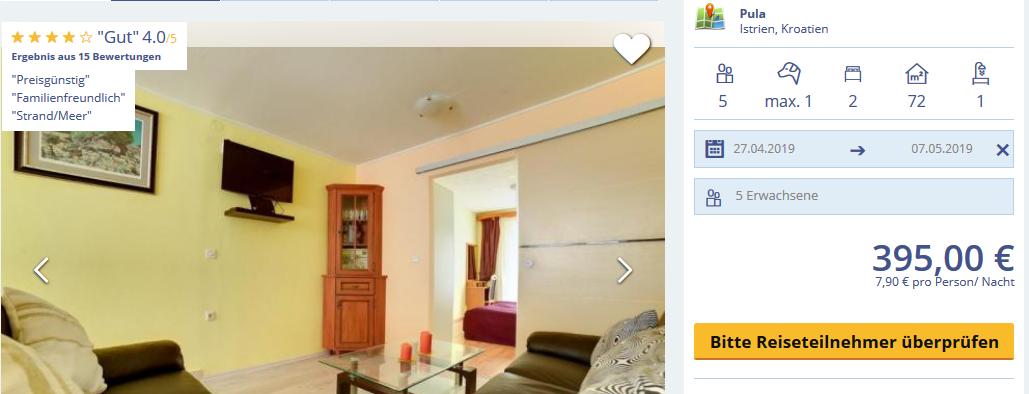Hier Ferien Wohnung mieten günstig ab 7,95€ die Nacht bei 5 reisenden