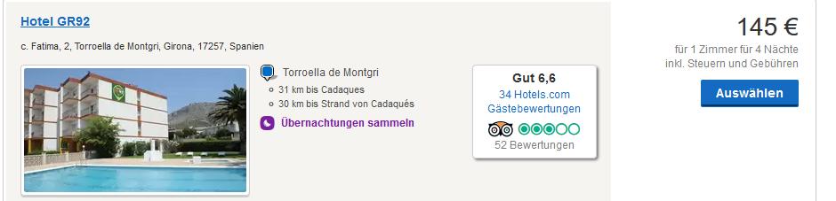 Hotel ab 72,50€ pro Person - Screenshot