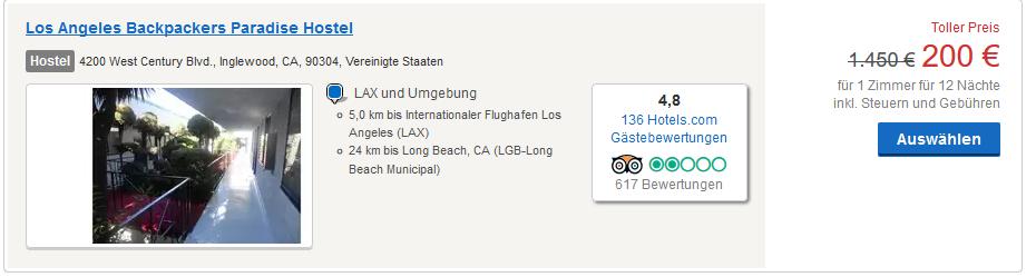 Hotels ab 200,00€ für den Reisezeitraum - Screenshot
