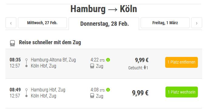 Preisübersicht beim Flixbus Shop - Screenshot