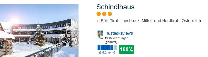 Schindlhaus 3 Sterne 100% positive Bewertung