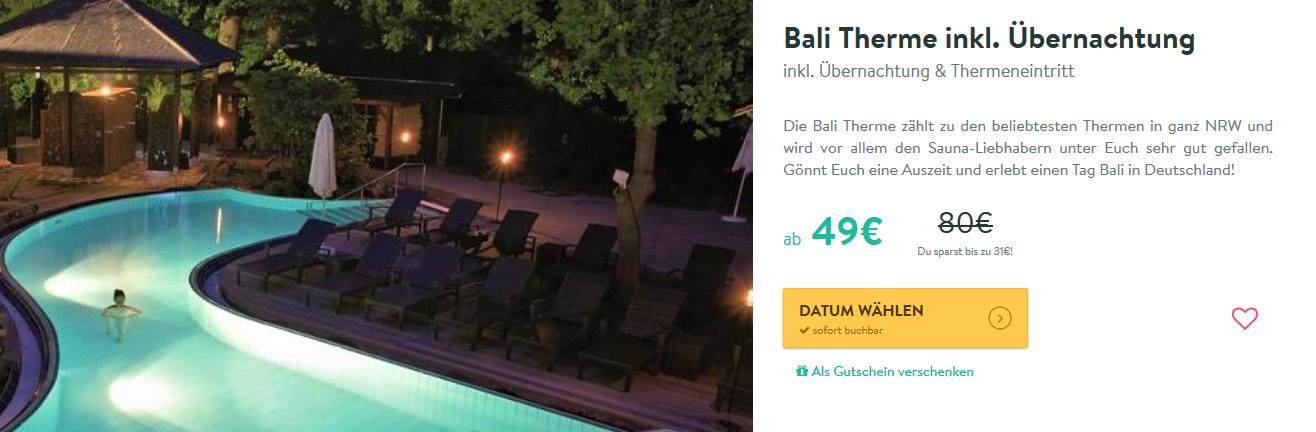 Screenshot Bali Therme 38,75% günstiger ab 49,00€ anstatt 80,00€ Wellness in NRW