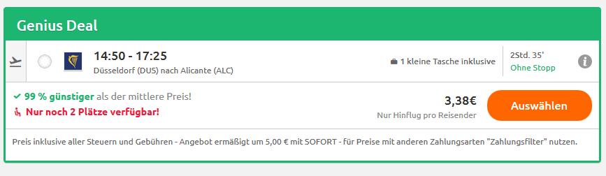 Screenshot Costa Blanca Flüge ab 3,38€ nach Alicante Flug Deals