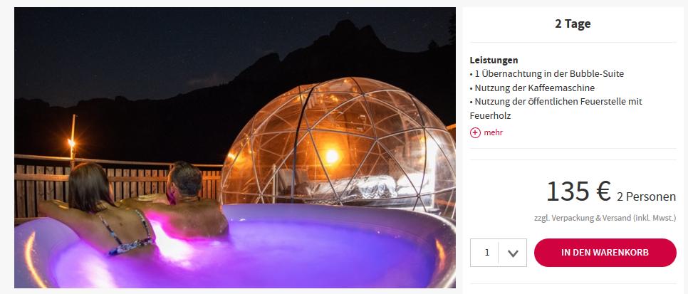 Screenshot Deal Bubble Suite Braunwald ab 135,00€ außergewöhnlich übernachten Unique Hotel