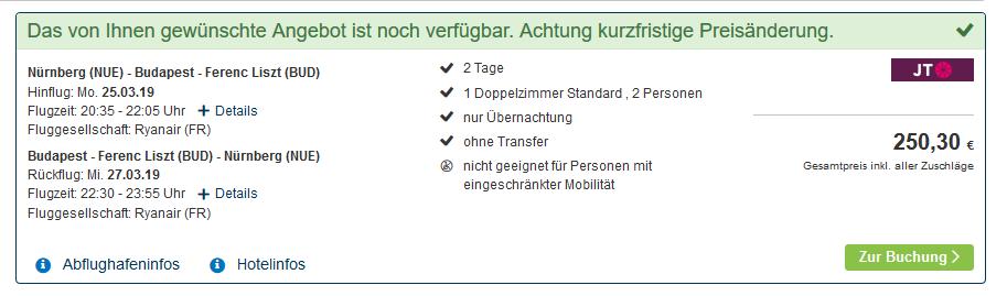 Screenshot Deal Budapest im zentralen Apartment Pauschalreisen ab 125,00€
