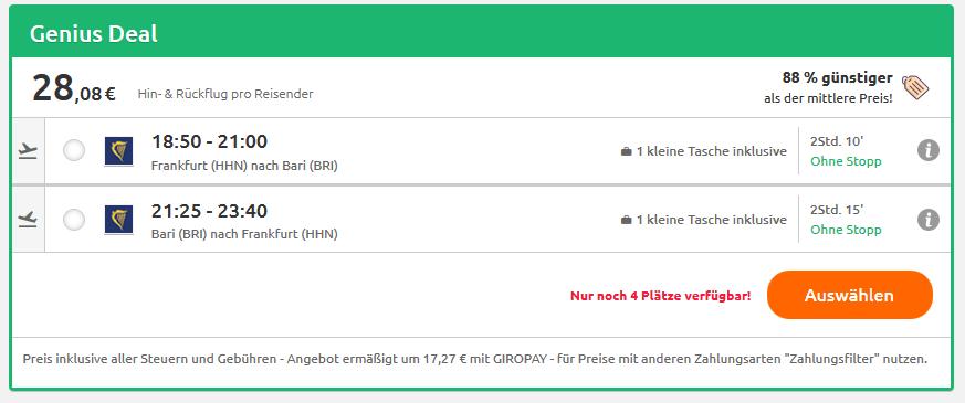 Screenshot Deal Direktflüge nach Bari hin & zurück ab 28,08€ Kurzurlaub in Italien