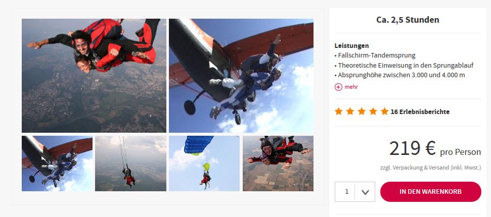 Screenshot Deal Fallschirm Tandemsprung in Wallerfangen im Saarland ab 219,00€