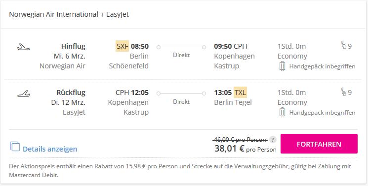 Screenshot Deal Flug nach Kopenhagen zwei Wege ab 38,01€ - Lastminute Flüge hier checken