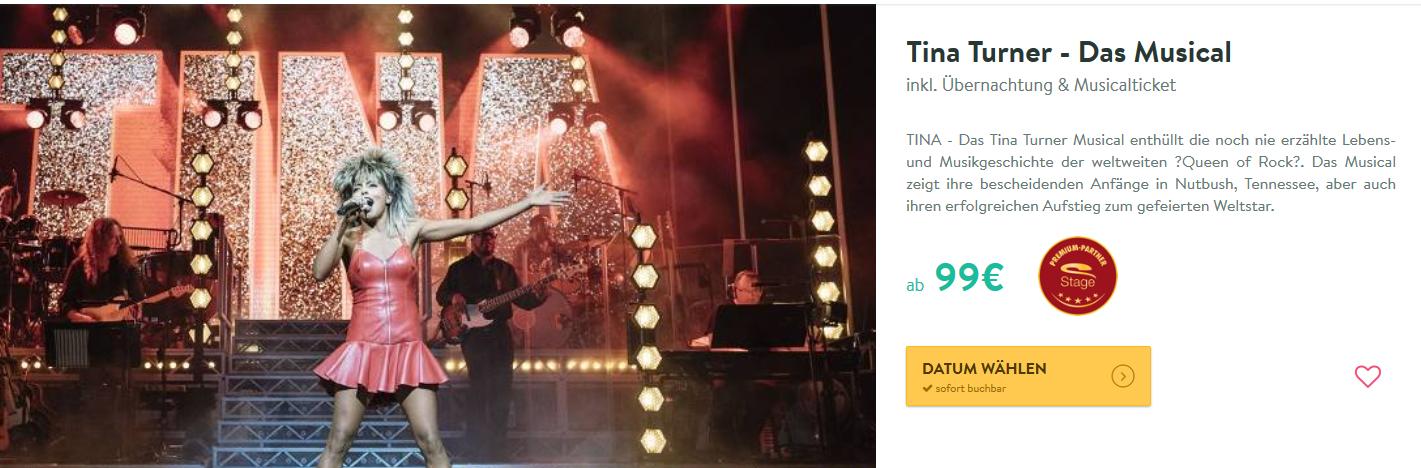 Screenshot Deal Gönn dir das Tina Turner Musical ab 99,00€ inklusive Hotel