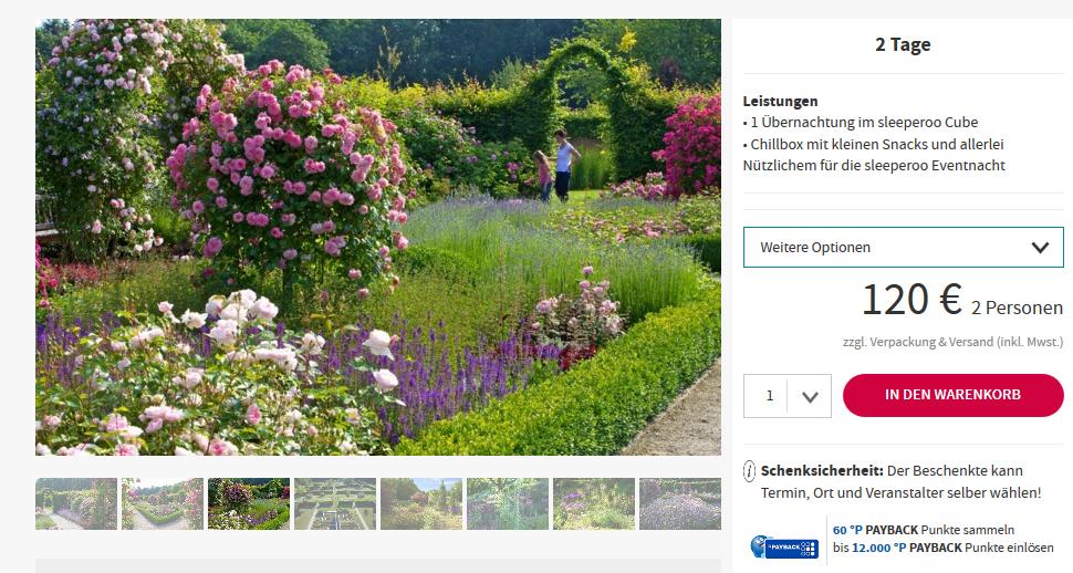 Screenshot Deal Garten der Sinne ab 120,00€ außergewöhnlich Übernachten in Merzig