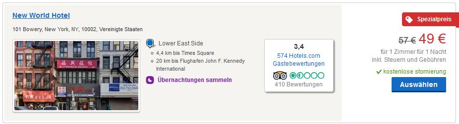 Screenshot Deal Günstiges Hotel in New York Manhattan ab 24,50€ die Nacht