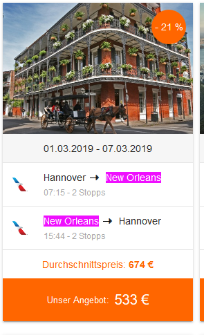 Screenshot Deal Karneval in New Orleans feiern nach Louisana in die USA nur 533,00€