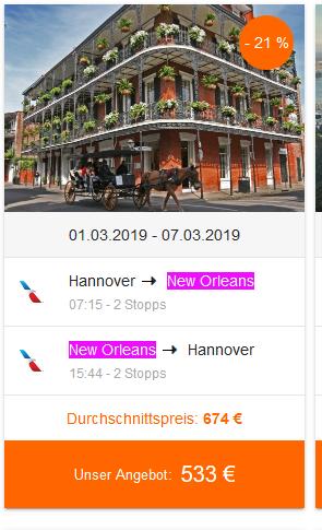 Screenshot Deal Karneval in New Orleans feiern nach Louisana in die USA nur 533,00€