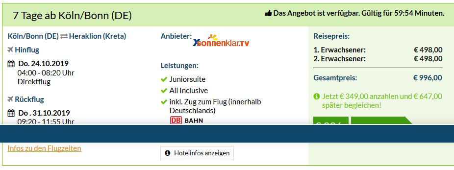 Screenshot Deal Kiani Beach Resort 5 Sterne Urlaub All Inclusive ab 498,00€