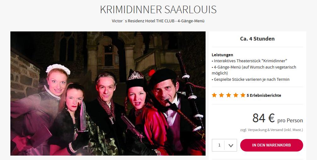 Screenshot Deal Krimidinner Saarland natürlich in der Victor's Residenz Saarlouis ab 84,00€