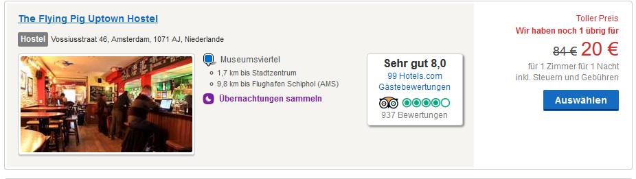Screenshot Deal Kurzurlaub Amsterdam eigen Anreise ab 10,00€ die Nacht
