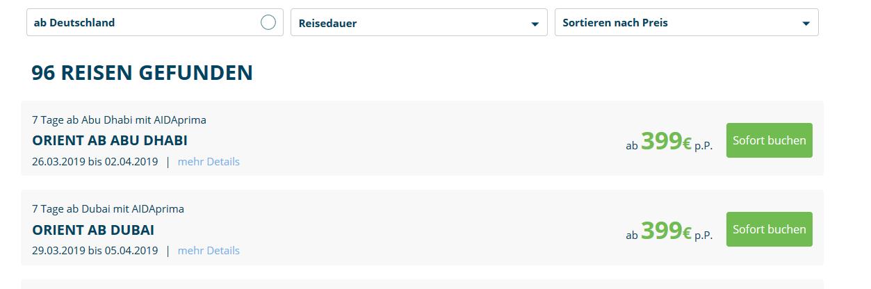 Screenshot Deal Last Minute Kreuzfahrt ab 399,00€ - Deswegeb Resturlaub buchen & sparen