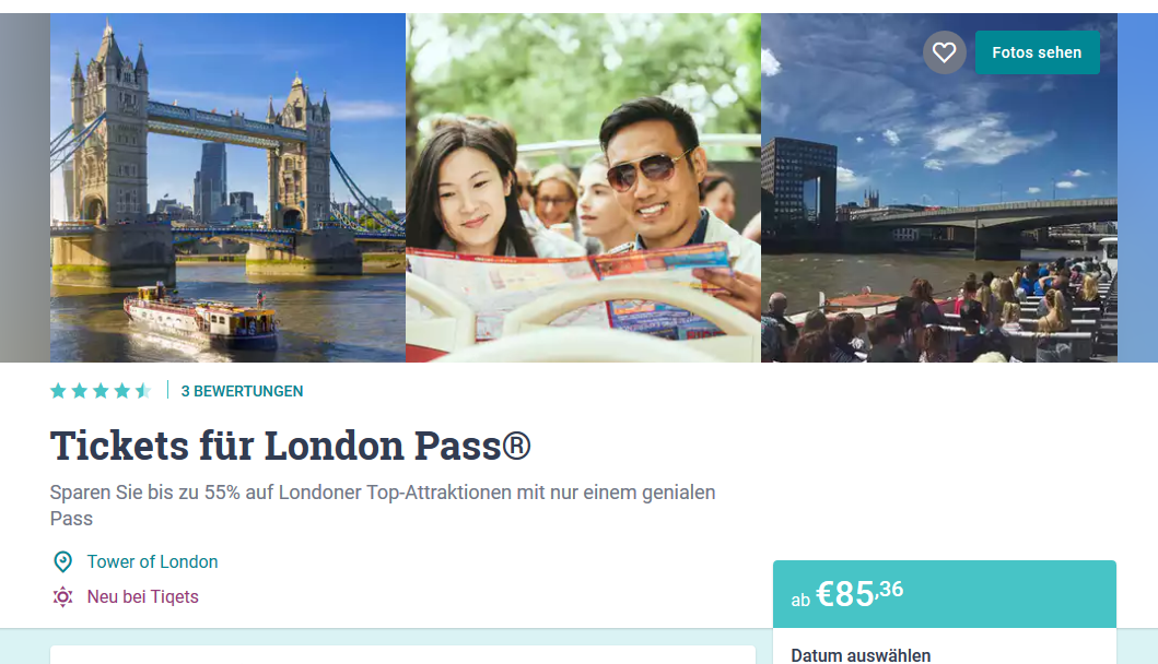 Screenshot Deal London City Pass günstig ab 85,36€ - Sightseeing Tour richtig planen