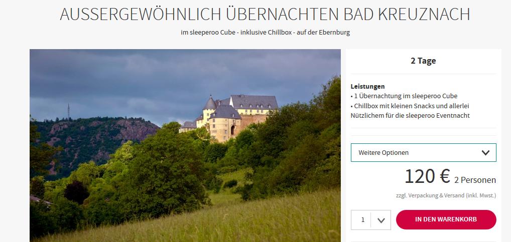 Screenshot Deal Nacht im Sleepero Cube ab 120,00€ in Bad Kreuznach aussergewöhnlich Übernachten