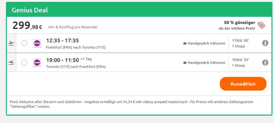 Screenshot Deal Preissturz Städtereise nach Toronto günstig wie nie ab 299,98€