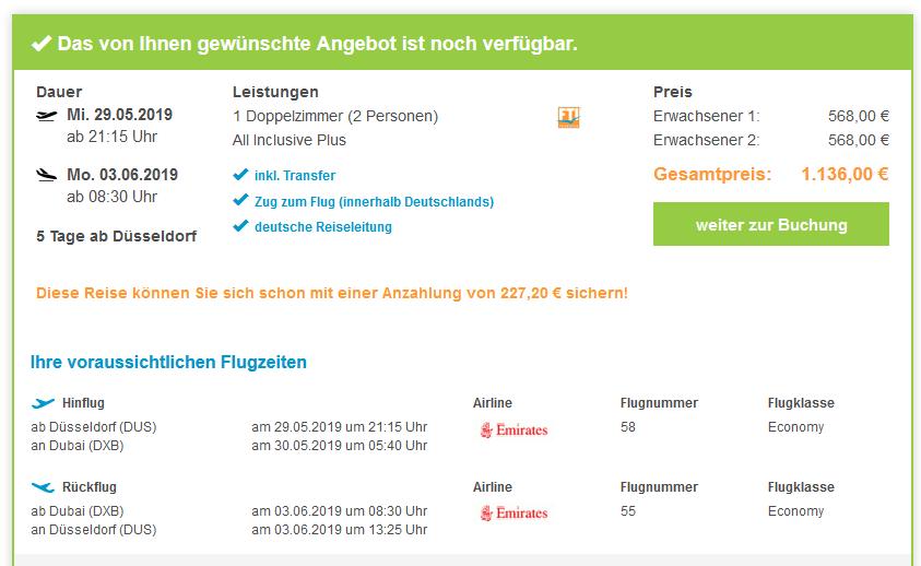 Screenshot Deal Ras Al Khaimah Urlaub All Inclusive Plus im Doubletree by Hilton nur 568,00€