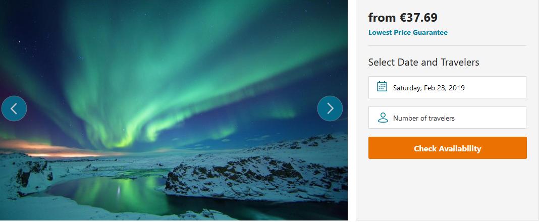 Screenshot Deal Reykjavik Polarlichtertour jetzt erleben ab 37,77€ Nordlichter Tour