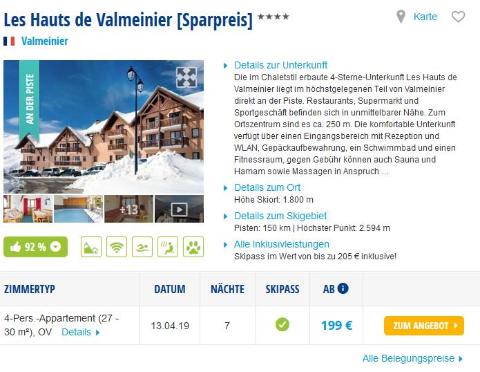 Screenshot Deal Skiurlaub Last Minute zu Ostern - Hotel und Skipass 1 Woche ab 199,00€
