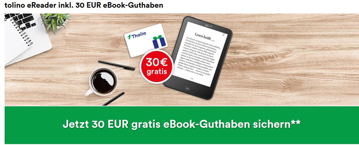Screenshot Deal Thalia Gutschein 30,00€ Gratis eBook Guthaben Tolino eReader