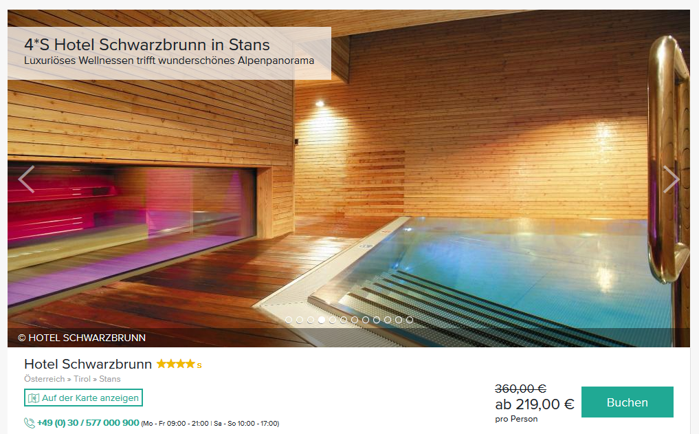 Screenshot Deal Wellness im Schwarzbrunn Stans 4 Sterne Hotel Luxus in Tirol ab 219,00€