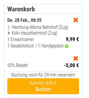 Screenshot Flixtrain Gutschein Deal während der Woche 50% Rabatt - Tickets ab 4,99€