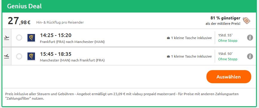 Screenshot Flug Deal Anstehende Ereignisse in Manchester erleben hin & zurück ab 30,00€