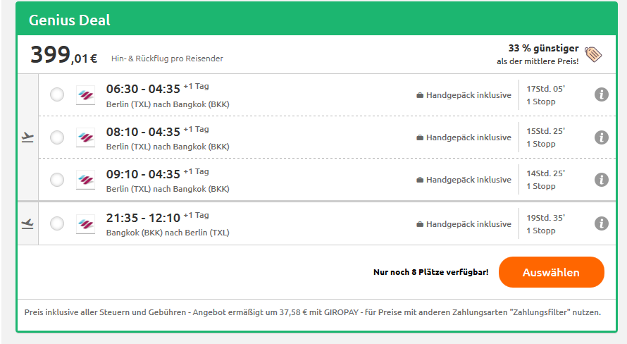 Screenshot Flug von Berlin nach Bangkok ab 399,01€ Thailand Deals