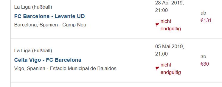 Screenshot Fussball FC Barcelona Karte ab 80,00€ Fußball Reise nach Spanien