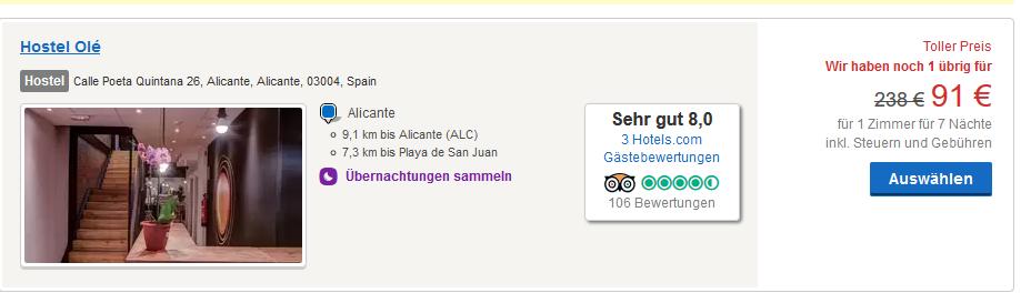 Screenshot Hotel Deal Alicante Strand Urlaub in Spanien Eine Woche ab 134,00€