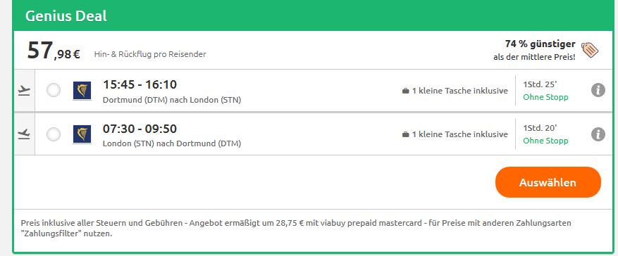 Screenshot London Deals Städtereisen günstig buchen - Flüge hin & zurück ab 57,68€