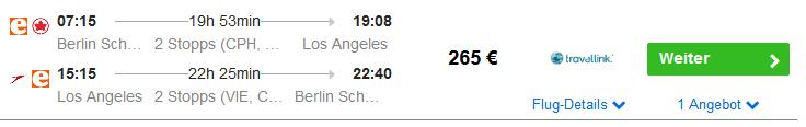 Screenshot Preishammer - Los Angeles 12 Nächte Hotel & Flüge ab 465,00€