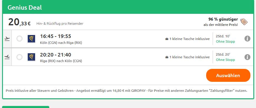 Screenshot Riga Tourismus am platzen bei den Preisen 1 Woche ab 55,33€
