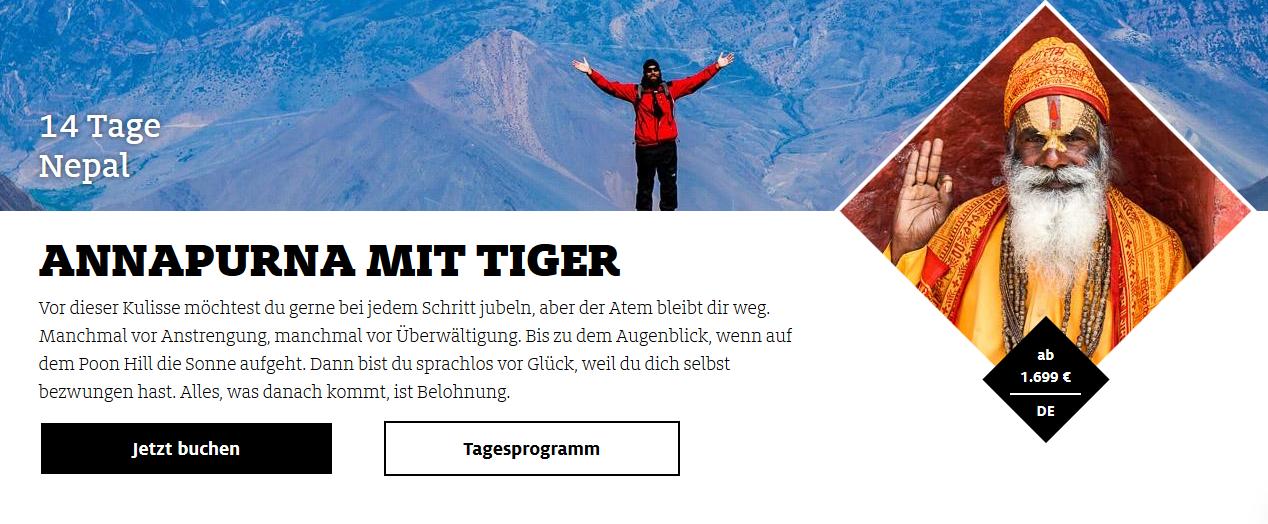 Screenshot Rundreisen durch Nepal ab 1699,00€ -2 Wochen Annapurna mit Tiger