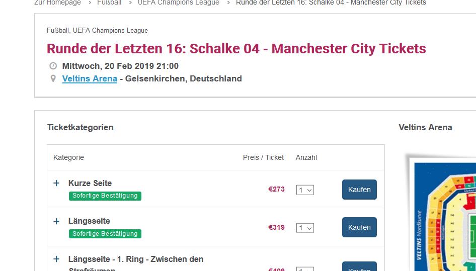 Screenshot Schalke Manchester City Tickets zum Bestpreis - Städtereise nach Gelsenkirchen