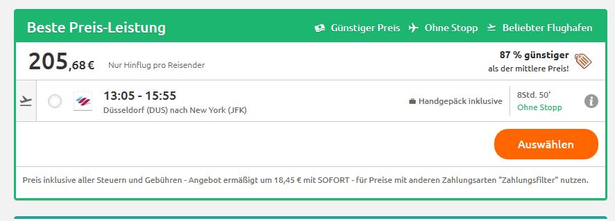 Screenshot Shoppen in New York Tipps & Tricks Flug schon ab 205,68€