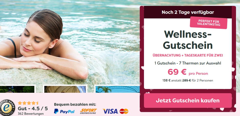 Screenshot Wellness Gutschein - 7 verschiedene Deals zum Valentinstag ab 69,00€