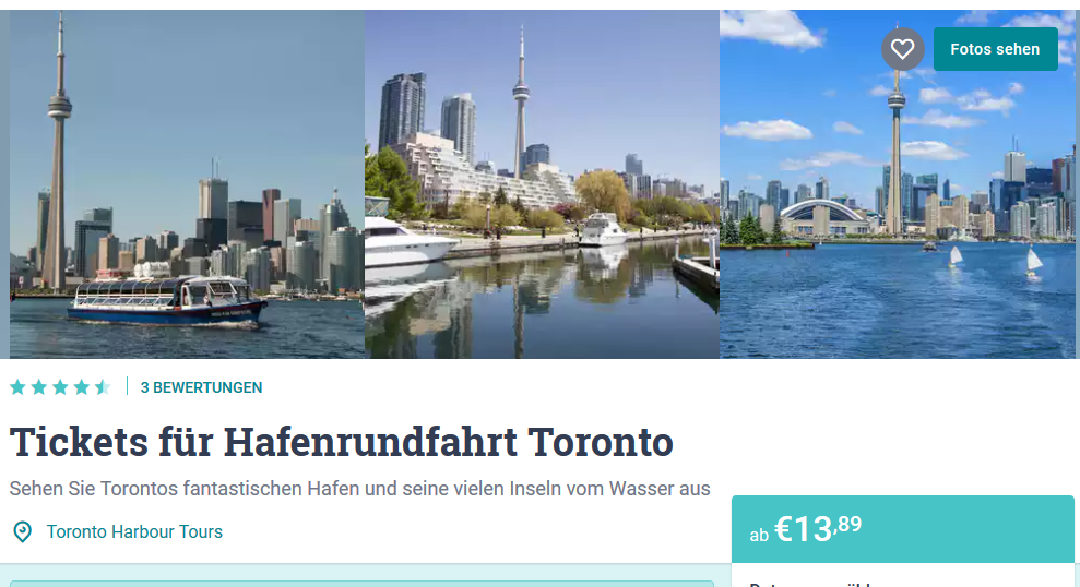 Sightseeing Tickets hier buchen - Screenshot