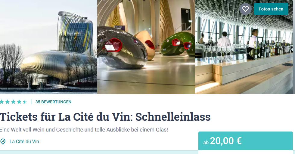 Tickets für die Cité du Vin -Screenshot die günstigste Weintour