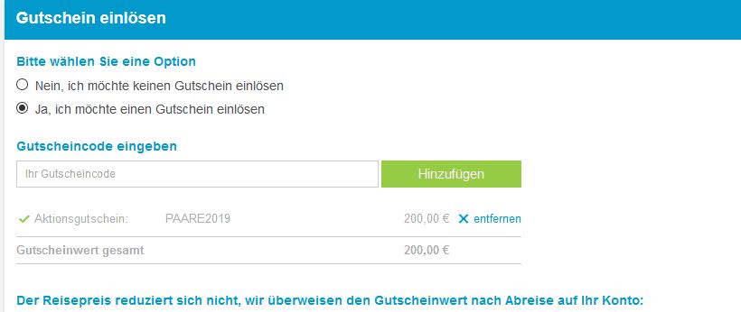 Hier löst du den Gutscheincode ein und erhälst dein Geld zurück sobald dein Urlaub startet- Screenshot