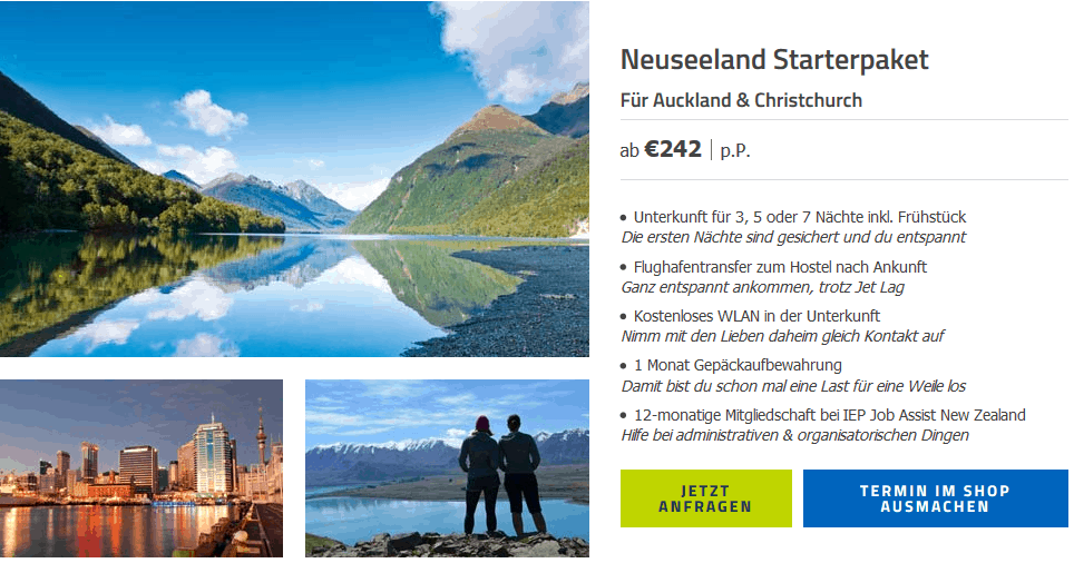 Screenshot Deal Auswandern Neuseeland ab 242,00€ p.P Work and Travel
